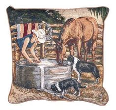Working Girls Western Western Decorative Tapestry Pillow