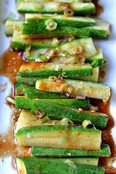 Simple but full of flavor, this Spicy Asian Zucchini is another wonderful, healthy side dish for you to try   It's ready in under 10 minutes too!   Zucchini? Check Easy? Check! Amazing flavor? Double Check!! I love finding new ways to cook zucchini. Especially this time of year when it is so plentiful at the farmers markets.  I usually have loads in our garden but I failed this year in garden anyt...