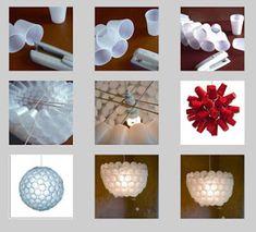 lamparas DIY vasos de plastico ingenioso