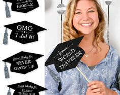 Create memorable graduation photos with this fun senior superlative photo prop kit. Each Funny Graduation Caps prop kit comes with printed silver tassel accents and 20 funny sayings to inspire perfectly shareable pics. Whether you are taking photos for th Funny Graduation Caps, Graduation Celebration, Graduation Decorations, Graduation Party Decor, Graduation Photos, Grad Parties, Graduation Ideas, Graduation 2016, Graduation Sayings