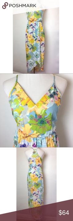 Amanda U Floral chiffon maxi Lovely floral tulip hem maxi dress. Crossover V neck, racer back with elasticized blouson waist. Amanda Uprichard Dresses