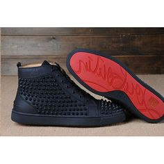 Christian Louboutin Red Bottom 3 Spikes on Top Black Matte Leather Men Shoes