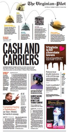 The Virginian-Pilot's front page for Thursday, March 21, 2013. Graphics at the top with the main headline in the middle. Lots of small pictures that spread your eye over the entire page.