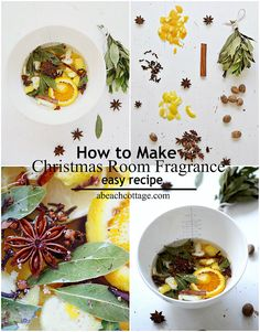 simple christmas room fragrance tutorial / how to make stove-top festive pot-pourri  1 x orange peeled & then sliced  1 x lemon peeled & then sliced  6 cinnamon sticks crushed  3 cups water  6 or so star anise  a small handful cloves  1 nutmeg grated  a small handful bay leaves crushed     Add all ingredients to a saucepan or slow cooker and simmer on very low.