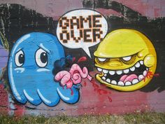 A realistic depiction of Pacman devouring his ghost nemesis! See more street art from Amazing Street Art Pieces that will impress your socks off! Crazy Games, Graffiti Drawing, Graffiti Artists, Amazing Street Art, Street Graffiti, Simple Doodles, Stencil Art, Cartoon Drawings, Urban Art