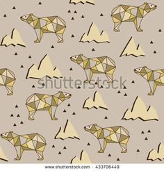 Abstract polygonal bear seamless pattern background.  Bears on a background of mountains