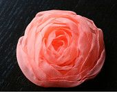 Bright Coral Small Rose Wedding Accessory. $15.00, via Etsy.