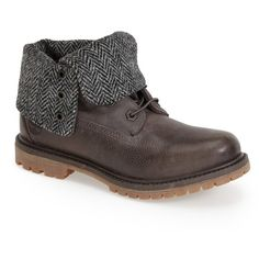 Timberland Authentics Fold-Down Boot ($55) ❤ liked on Polyvore featuring shoes, boots, ankle booties, ankle boots, grey, lace up boots, lace-up bootie, short grey boots, grey ankle booties and gray booties