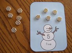 Pasta = snowflakes…cute math manipulative! Could easily use this for other math skills….addition, subtraction, arrays, problem solving, non-standard measuring, etc.
