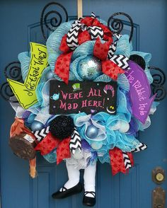 Hey, I found this really awesome Etsy listing at https://www.etsy.com/listing/200057726/halloween-wreath-alice-in-wonderland