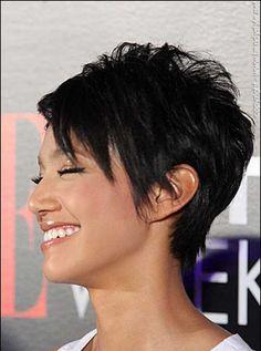 Brown Short Pixie Hairstlye with Long Bangs | Fashion Qe
