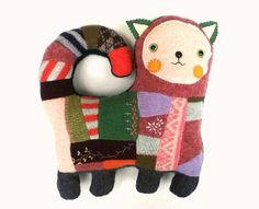 Patches the Cat // upcycled recycled wool kitty // by sarahbrown, $95.00