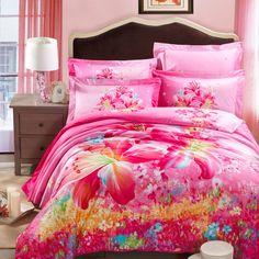 #pink #Lily 3d bedding set queen king size doona duvet cover 100 Cotton bedsheet pillowcases comforter