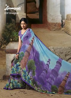 This saree's beauty as high as height of QUTUB MINAR –one of The most famous heritage in India. Marvelous color combination with digital print of Qutub Minar.