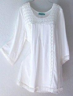 Ivory White Crochet Lace Peasant Blouse Shirt Plus Boho Top Boho Tops, Lace Tops, Boho Fashion, Womens Fashion, Fashion Design, Fashion Trends, Boho Outfits, Fashion Outfits, Peasant Blouse