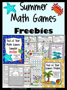 Summer Math Games FREEBIEs - printable math games with a cute summer theme - perfect for End of Year fun!