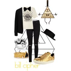 Bill Cipher by varsal on Polyvore featuring polyvore, fashion, style, Diesel, Forever New, Miss Selfridge, Tom Ford, Meadowlark, Kevia, PINK BOW and River Island