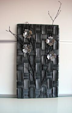 Wand decoratie-fietsband-takken-bloemen van fietsband, lood of blikjes ((cylelslange))
