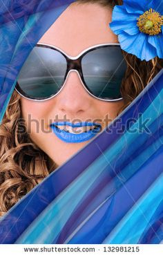 New stock photo available for sale at Shutterstock: Concept of summer fashion and trends - Portrait of woman with blue accessories and makeup. - stock photo