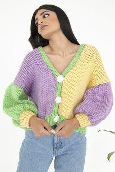 Knit Cardigan Outfit, Knit Cardigan Pattern, Chunky Knit Cardigan, Jacket Pattern, Crochet Cardigan, Knit Jacket, Yellow Cardigan, Knit Crochet, Jacket Men