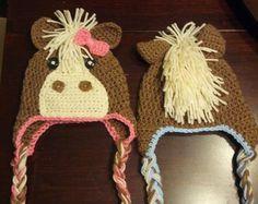 Items similar to Pony Hat, Crochet Pony Hat, Horse Hat, Crochet Horse Hat, Grey Pony Hat on Etsy Crochet Animal Hats, Crochet Horse, Crochet Kids Hats, Crochet Beanie Hat, Crochet Crafts, Yarn Crafts, Knitted Hats, Yarn Projects, Knitting Projects