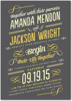Nostalgic Beginnings - Signature Custom Wedding Invitations - Elk Design - Charcoal - Gray : Front