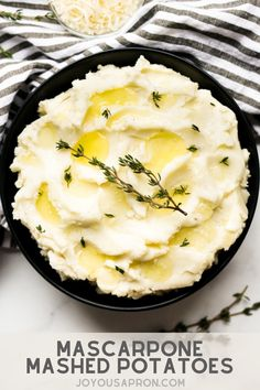 Mascarpone Mashed Potatoes - delicious potato side dish for the Thanksgiving and Christmas holidays or dinner any day! Creamy, rich and made with mascarpone cheese, parmesan cheese and heave cream. It's the BEST kind of mashed potatoes! Potato Side Dishes, Healthy Side Dishes, Side Dishes Easy, Side Dish Recipes, Party Side Dishes, Dinner Dishes, Roasted Vegetable Recipes, Garlic Mashed Potatoes, Mascarpone Cheese