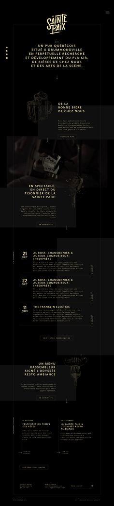 La Sainte Paix quebec pub french black yellow webdesign handwritten calligraphy font logo logotype site of the day sotd modern minimal beau Website Design Inspiration, Graphic Design Inspiration, Creative Inspiration, App Ui Design, Design Web, Calligraphy Handwriting, Le Web, Web Layout, Logo Images