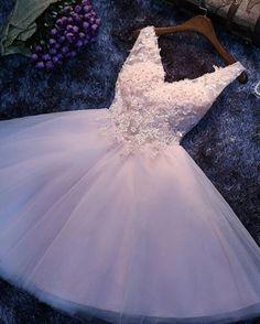 #1177 V Neck Lace Party Dress