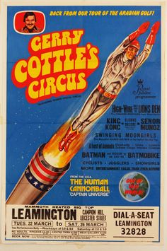 Original Vintage Circus Poster The Human Cannonball Captain Universe 1976 | eBay
