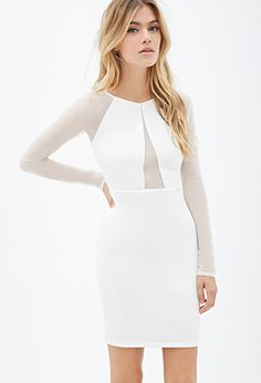 Mesh-Paneled Bodycon Dress | FOREVER21 - 2000078841