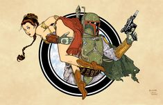 Boba Fett and Leia Print by Dave-Acosta