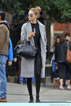 Gigi hadid in long gray coat and black Givenchy bag