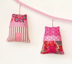 Garland of five little houses-pink-left by Holland Fabric House, via Flickr