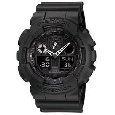 G Shock Combination Miltary Watch-Matte Black model number is GA-100-1A1 | Pebble Watch Bands