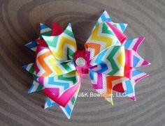 CHEVRON bright rainbow bow on Etsy, $5.79 AUD