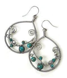 Hoop earrings with Turquoise boho earrings by Kissedbyclover