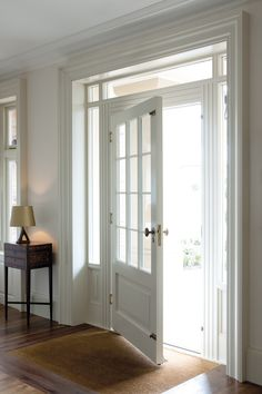 It would be cool to replace the front french doors with an oversized front door with the windows surrounding like this House, Interior, Home, Interior Barn Doors, Doors Interior, House Interior, Exterior Doors, Door Glass Design, French Doors Interior