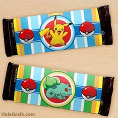 FREE printable Pokemon candy bar wrappers at HaleGrafx