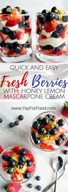 Fresh sweet and tart strawberries and blueberries layered with flavoured mascarpone-yogurt cream is a delicious no-bake dessert that is super easy and fast to make. Vegetarian   Gluten-Free   Desserts   Fourth of July Recipes
