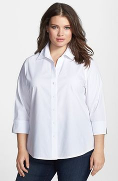 Foxcroft Shaped Non-Iron Cotton Shirt (Plus) available at #Nordstrom