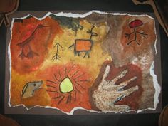 4th Graders created these cave paintings using oil pastels and water colors.  I purchased cave stamps and some of the students used them ...