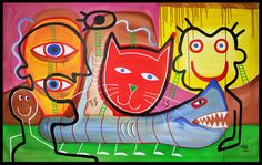 """60"""" HUGE Original RED CAT Abstract MODERN ART painting by RAEART """"Shark Bait"""" #Surrealism"""