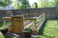 There were no instructions for this fenced garden, but I would construct it from cinder blocks. I like the idea of a short fence with a gate to keep out the critters.