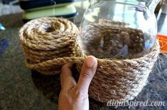 Wrap your thrift store vases with rope.