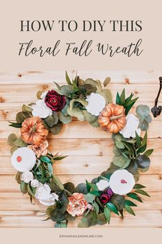 This fall wreath, filled with Burgundy, burnt orange, white, and green is such a romantic take on fall decor. It's also the perfect way to greet guests at the door. #falldecor #wreaths