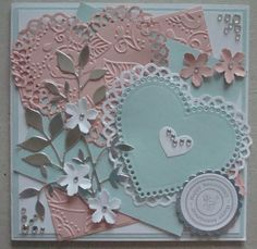 A064 Hand made Anniversary card using Spellbinders Lacey Hearts dies