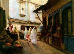 Algérie - Peintre français, Alphonse BIRCK (1859-1942) , Huile sur toile, Titre: Marché à la Casbah d'Alger