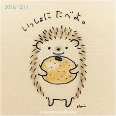 "Let's eat ""mikan"" together. Hedgehog Drawing, Hedgehog Craft, Cute Hedgehog, Doodle Drawings, Animal Drawings, Cute Drawings, Hedgehog Illustration, Cute Illustration, Cute Kawaii Animals"