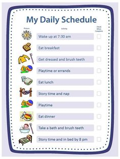 My Daily Schedule Blank  Work Low    Activities Daily